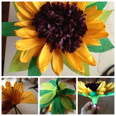 Crepe paper sunflower   Girasol de papel crepe created by Nicol Cook