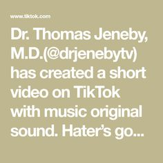 Dr. Thomas Jeneby, M.D.(@drjenebytv) has created a short video on TikTok with music original sound. Hater's gonna hate #plasticsurgery #pose #drjeneby Top Plastic Surgeons, Plastic Surgery, Funny Text Messages, Breast, The Originals, Music, Hate, Musica, Musik