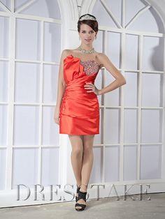 Faddish Sheath / Column Taffeta Orange Homecoming Dresses