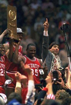 Derek Wittenberg, Thurl Bailey, Sidney Lowe and Coach Jim Valvano - NC State