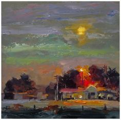MOONLIGHT+MOTEL,+TOM+BROWN+CONTEMPORARY+RURAL+LANDSCAPE,+painting+by+artist+Tom+Brown
