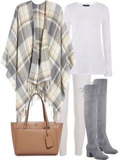 Fall Fashion, outfit inspiration, winter white, over-the-knee boots, tory burch tote, cape, blanket scarf