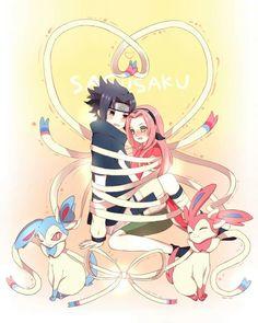 Sasusaku and Sylveons #Naruto #Pokemon