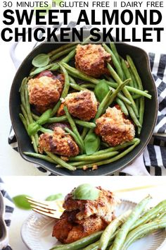 This One Skillet Sweet Almond Chicken + Green Beans is the perfect weeknight meal! It comes together in 30 quick minutes and only dirties one skillet! Meat Recipes, Paleo Recipes, Real Food Recipes, Food Processor Recipes, Chicken Recipes, Dinner Recipes, Yummy Food, Drink Recipes, Chicken Green Beans