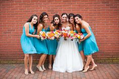 Bridal bouquet and matching bridesmaids for Flowerful Events
