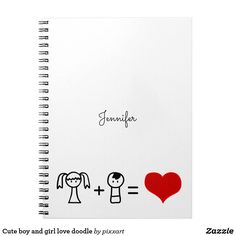 Cute boy and girl love doodle spiral notebook