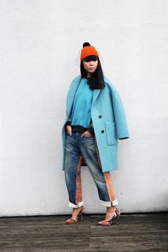 Lucky Chouette coat worn with Bernstock Speirs hat, Let Kuzmus sweatshirt, Junya Watanabe jeans and Emma Cook shoes
