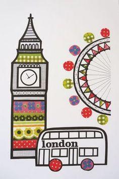London print. Big Ben, double decker bus