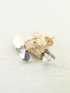 Keilani earrings  clear quartz point stud от kealohajewelry