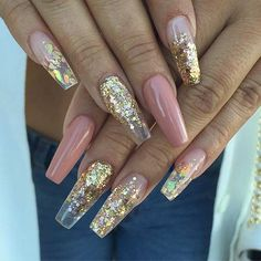 25 Fun Ways to Wear Ballerina Nails Gold Sequin and Dark Nude Ballerina/Coffin Nails Cute Nail Designs, Acrylic Nail Designs, Gold Nail Designs, Hair And Nails, My Nails, Fall Nails, Summer Nails, Gold Acrylic Nails, Gold Coffin Nails