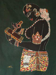 Batik / Schrijvende exotische vrouw