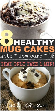 8 low carb and keto mug cake recipes that only take 1 minute to cook! All chocolate lover recipes that are easy healthy desserts for the ketogenic diet, low carb, gluten free or those wanting sugar free desserts Keto Friendly Desserts, Low Carb Desserts, Low Carb Recipes, Easy Healthy Desserts, Quick Recipes, Healthy Treats, Keto Chocolate Mug Cake, Chocolate Mug Cakes, Chocolate Glaze
