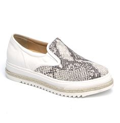 Slip-on sneaker style loafer from Laura Bellariva. A round toe, white rubber gussets inserts. Stitch reinforced white rubber sole with woven espadrille detail. Leather embossed to emulate snake skin throughout. Leather lining. Rubber sole. Item code: 80005 Materials: leather, rubber Made in Italy