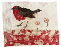 Unframed appliqued robin with embroidery on to by MandyPattullo