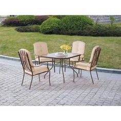 Mainstays Ashwood Heights 5-Piece Outdoor Dining Set, Tan