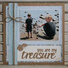 Layout: You are my Treasure Beach scene with little boys - scrapbook layout idea Beach Scrapbook Layouts, Album Scrapbook, Vacation Scrapbook, Kids Scrapbook, Scrapbook Designs, Wedding Scrapbook, Scrapbook Sketches, Scrapbook Paper Crafts, Scrapbooking Layouts