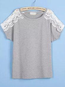 Grey Lace Short Sleeve Loose T-Shirt