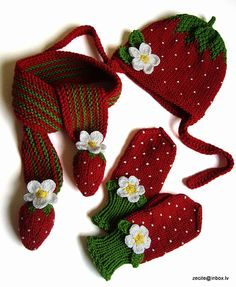 Red Strawberry Baby girls set Hat Scarf Mittens hand by MiaPiccina, $76.00