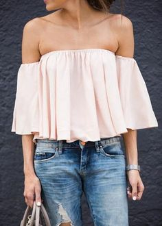 Ily Couture Blush Off the Shoulder Flutter Top