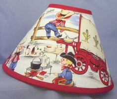Western Kid Cowboys Covered Wagon Fabric Lamp Shade