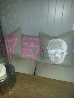 Love linen and neon pillows