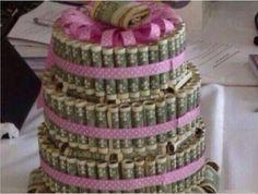 Tarta de dinero (Idea para regalo de graduación o cumpleaños) - DIY Money Cake (gift idea for graduation or birthday) Creative Gifts, Cool Gifts, Diy Gifts, Simple Gifts, Creative Art, Creative Ideas, Don D'argent, Money Cake, Gift Money
