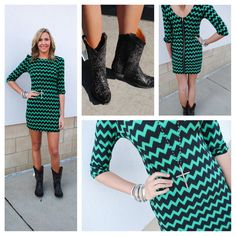 Navy and Emerald Chevron Dress