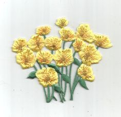 Bright Yellow Flower Bunch Green Leaves Garden Floral Iron On Patch Applique