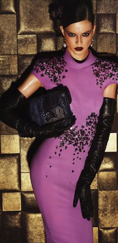Long leather gloves and beaded purple cocktail dress