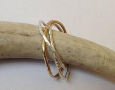 Rustic Trinity Ring  Three Interlocked Bands of by milkandroses