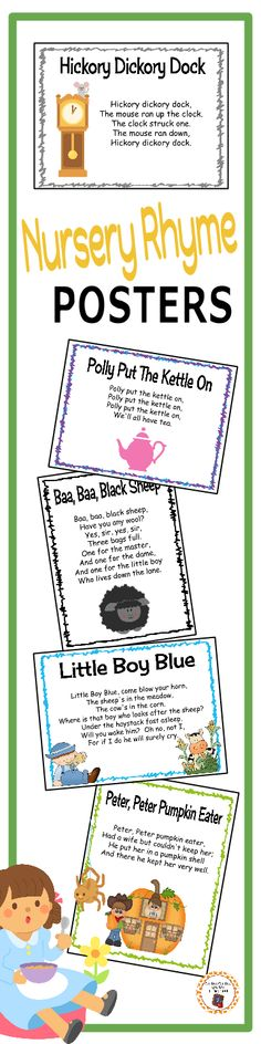 I love using these nursery rhyme posters during my calendar time! Common and not so common nursery rhymes to help my children learn rhyming words and dolch sight word recognition (pre-primer to 3rd grade).