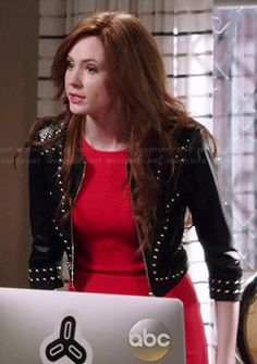 Eliza's red dress and studded leather jacket on Selfie.  Outfit Details: http://wornontv.net/39790/ #Selfie