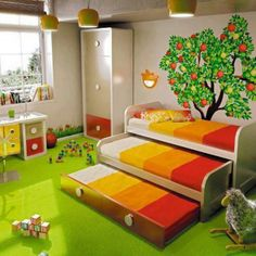 Creative bedroom design love the space saving! Bed With Drawers, Stair Drawers, Kids Bunk Beds, Low Loft Beds, Kid Spaces, Space Kids, Small Spaces, Nursery Room, Child's Room
