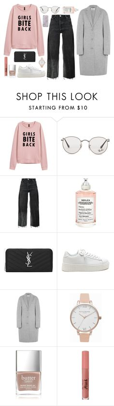 """""""in honor of the women's march"""" by thestylecloset1 ❤ liked on Polyvore featuring Ray-Ban, RE/DONE, Maison Margiela, Yves Saint Laurent, Acne Studios, Olivia Burton and Butter London"""