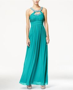 City Studios City Studios Juniors' Embellished Cutout Ruched Empire-Waist Gown