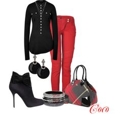 Red and Black by mscococris on Polyvore featuring Balmain, Vivienne Westwood and Dorothy Perkins