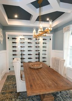 Wine Wall in Dining Room - Wine Wall Design - Glass Wine Cellar, Home Wine Cellars, Wine Cellar Design, Wine Cellar Modern, Wine Rack Design, Casa Magna, Wall Design, House Design, Wine Shelves