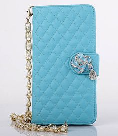 Lambskin Long Pearl Chain Camellia Pendant iPhone 6S Plus/6 Plus/6S/6/SE/5S/5 Samsung S6/S6 Edge/S5/S4/S3/Note 5/Note 4 Side Open Wallet Stand PU Leather Case