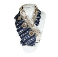 Cravate, artistique, fleurs, Roses, bleu, Beige, soie, or, singe, rétro, Vintage, recyclé