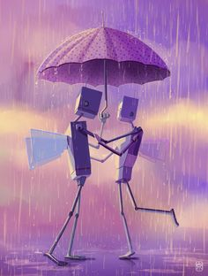 Part of my cute robot series. Umbrella Art, Under My Umbrella, Steampunk, Robot Cute, Rain Pictures, Free Pictures, Arte Robot, Couple Painting, Rain Art