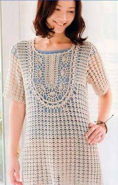 Receitas de Crochet: Túnica fácil de crochet. Crochet tunic with diagram (portuguese & japanese)