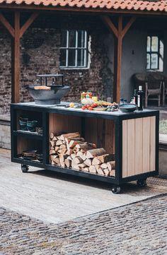 Small Outdoor Kitchens, Build Outdoor Kitchen, Outdoor Kitchen Design, Outdoor Cooking, Patio Design, Outdoor Dining, Backyard Pavilion, Backyard Patio, Garden Deco