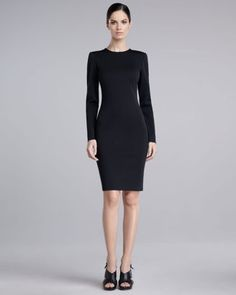 St. John - Shop Online - Dresses - Long-Sleeve Fitted Milano Knit Dress, Caviar
