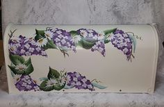 Hand Painted Mailbox with Wisteria and Daisies $89.95