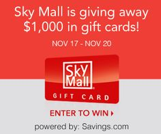 Enter to Win a $50 Gift Card to SkyMall! (20 winners)