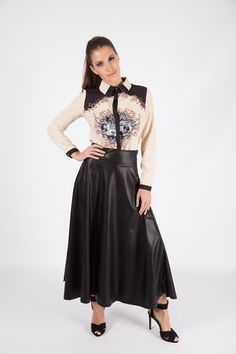 High Waist PU Midi Skirt R499.00 - Soft PU leather look material  - Side zip fastening  - Midi length Point Collar, Baroque, Printed Shirts, Pu Leather, Midi Skirt, Skirts, Collection, Button, Classic