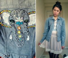 Drawn with thread machine embroidery, applique and hand embellished! Worn with a cutesy vintage dress and denim bra let Tame Impala, Patterned Tights, Levis Jacket, Totally Awesome, Jacket Style, Embroidery Applique, Machine Embroidery, Vintage Dresses, Cool Outfits