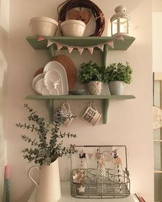 Went to bed very late as I was up faffing with shelves after saving an image on Pinterest that made me want to!!! Going for A bit of a simpler look at the moment, declutter I got big time, fed up of how busy it all is....two shelves down.....the whole house to go!! #januarydetox #simple #shelfie #natural #eucalyptus #greengate #milkbottles #paperstraw #enameljugs #ikea #farrowandball #hearts #wreath #star #bunting #emmabridgewater #sage #wooden #happy ✨