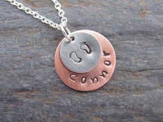 Stamped Metal Pendant Necklace with Stamped by cblandcompany