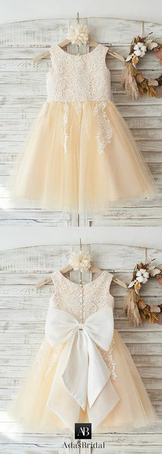 Marvelous Lace & Tulle Scoop Neckline Tea-length A-line Flower Girl Dresses With Bowknot